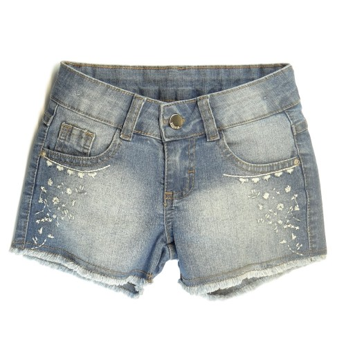 Shorts Jeans com Bordado - Mania Kids