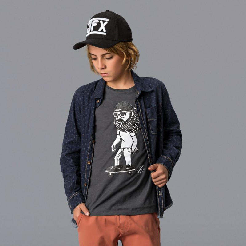 Camiseta Infantil Flamê Manga Longa Grafite - Johnny Fox