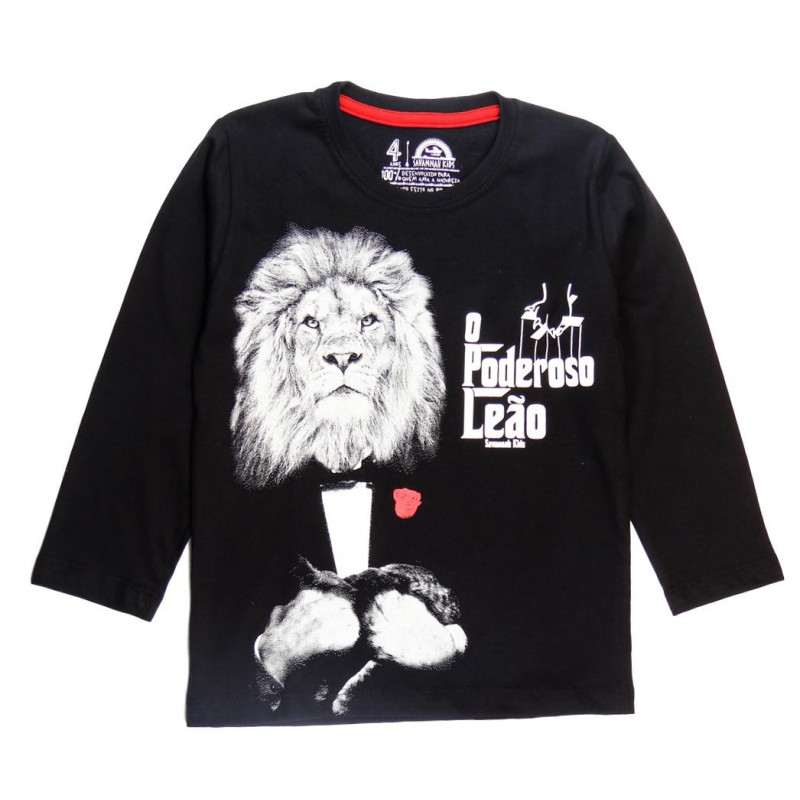 Camiseta Infantil Poderoso Leão ML - Savannah Kids