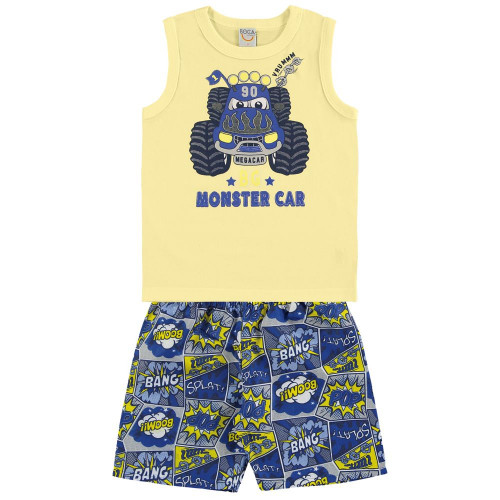 Conjunto Infantil Menino Regata e Bermuda Microsuede Monster Car Cartoon - Boca Grande