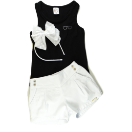 Regata Lisa e Shorts Branco